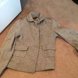 Super cute grey wool military style jacket size xs